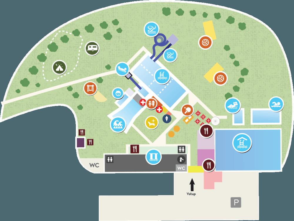 mapa areálu kúpaliska vo Svidníku
