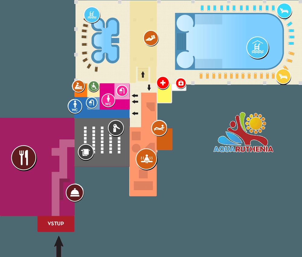 mapa vnutorných bazénov a wellness Aquaruthenia